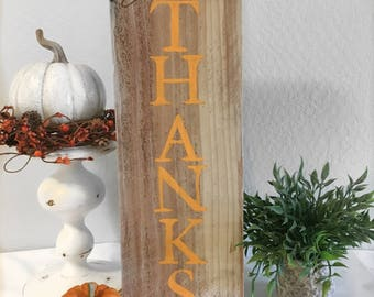 Give Thanks Sign - Reclaimed Wood Sign - Reclaimed Fall Decor Sign - Rustic Sign - Farmhouse Sign