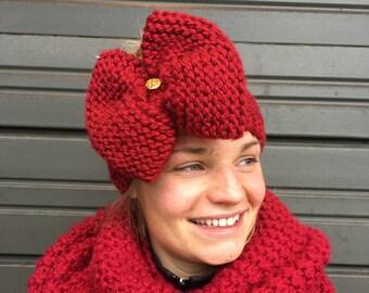 Christmas bow headband, knit bow headband, red and green headband, giant bow headband