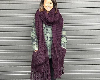 Oversized Knit Scarf Etsy
