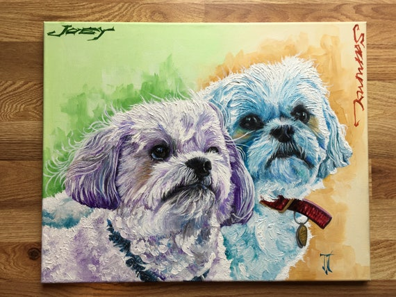 Custom Dogs Painting Abstract Dogs Painting Pet Portrait Dog Art Custom Animal Painting Pet Painting