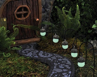 Glow In The Dark Acorn Cap Lanterns For Fairies ~ Miniature Glowing  Lanterns ~ Fairy Garden Accessories U0026 Halloween Decor