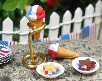 Miniature Ice Cream Cone Dollhouse Food Fairy Garden Dessert Resin Craft set of 3