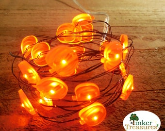 Pumpkin Fairy Lights, Mini Fall Orange PUMPKIN LED Lights, Tiny Lights, Terrariums, Miniature Gardens, Fairy Gardens, Fall Minis