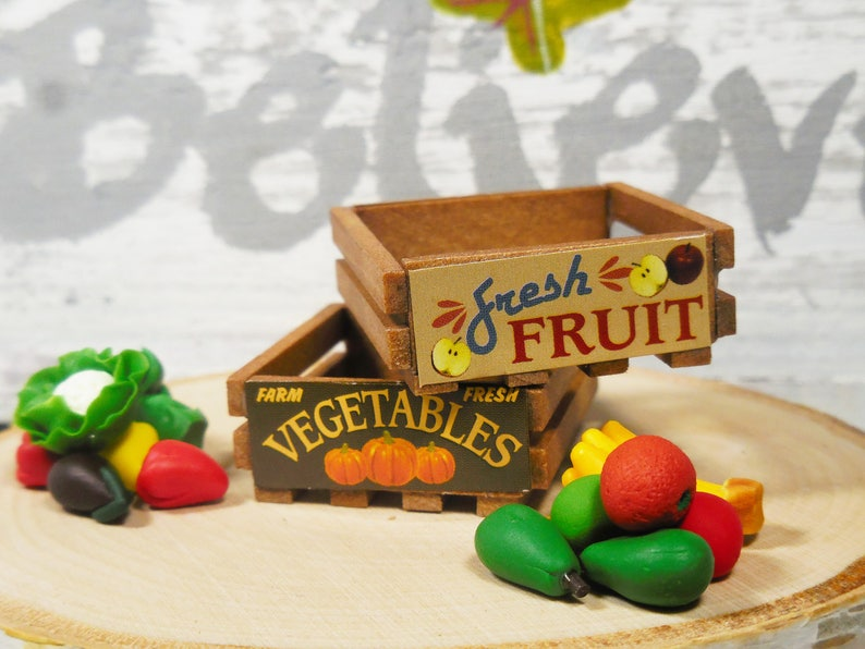 2 Pc Miniature Fruit Vegetable Wooden Crates Fairy Garden Accessories Dollhouse Minis And Craft Supplies