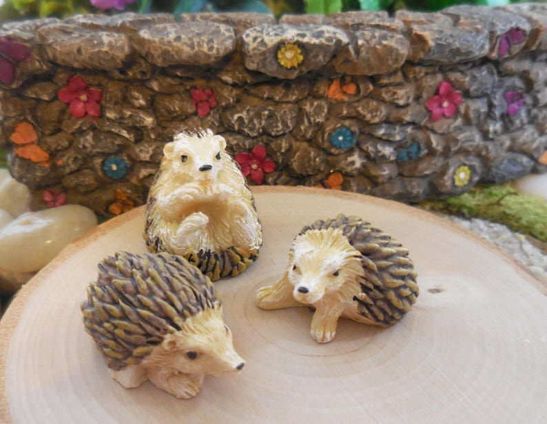 Fairy Garden Hedgehog Set Of 3 Miniature Forest Hedgehog Etsy