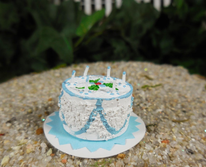 Blue Birthday Cake Fairy Accessory Miniature With Tiny