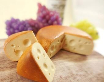 Fairy Garden Swiss Cheese Wheel w/ Cheese Slices ~ Realistic Dollhouse Miniature Cheese ~ Tiny Food for Fairies ~ Fairy Garden Supplies