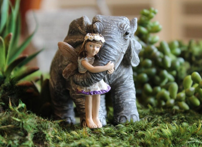 Miniature Safari Fairy w/ Elephant Figurine  Mini Animal image 0