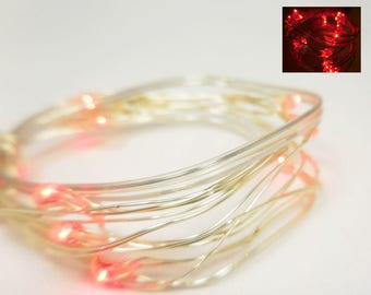 LED Fairy Lights ~ Battery Operated Red Light Strands ~ Submergeable Lights Fairy Garden & Terrarium Landscaping ~ Miniature Lights in Red