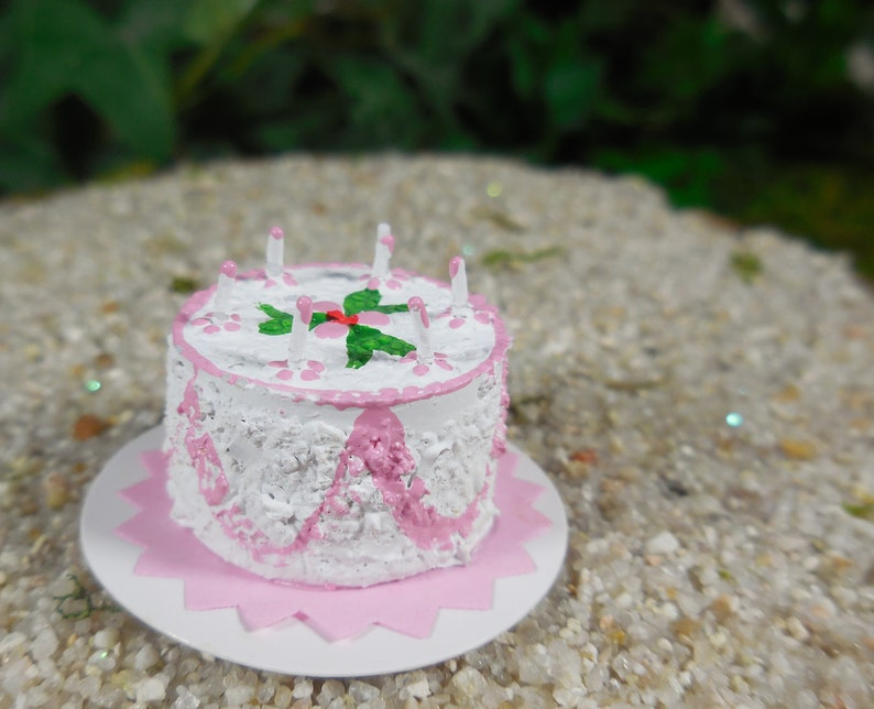 Pink Birthday Cake Fairy Accessory Miniature With Tiny