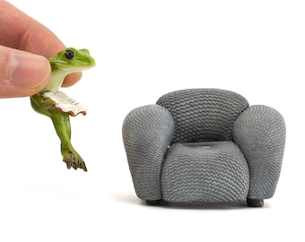 Tiny Frog on Sofa Reading ~ Woodland Fairy Garden Accessories & Supply ~ Miniature Fairy Animal Figurines ~ Frog Themed Party Decor