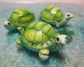 One Miniature Pond Turtle ~ Little Fairy Garden Turtle Figurine Pond Accessory ~ Miniature Animals for Terrariums ~ Fairy Garden Supplies