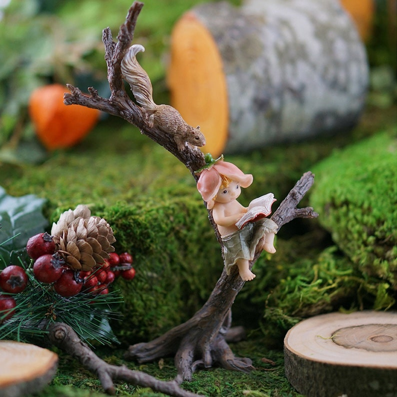 Fairy Garden Tree Sprite & Squirrel Story-Time ~ Miniature Animal Figurines  for Fairies ~ Enchanted Forest Home Decor