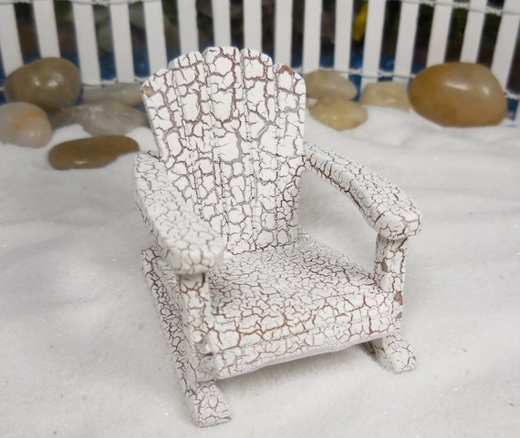 Tremendous Miniature Fairy Garden Rocking Chair Tiny Faux Wood White Adirondack Chair For Fairies Fairy Furniture Accessory Garden Supplies Squirreltailoven Fun Painted Chair Ideas Images Squirreltailovenorg