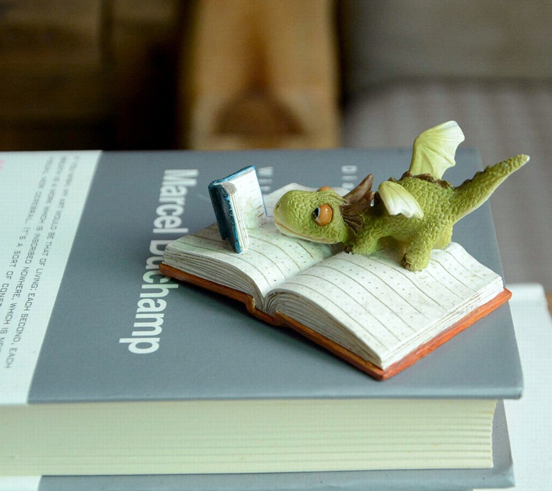 Fairy Garden Dragon Reading a Book  Miniature Animal Figurine image 0