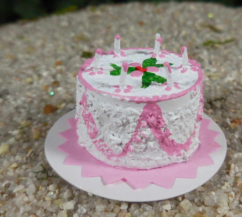 Pink Birthday Cake Fairy Accessory Miniature With Tiny