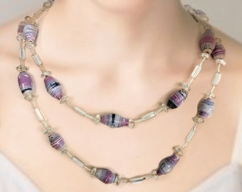 Pretty purples -- a paper bead necklace with a variety of clear glass bead accents