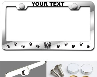 Arial Black font Dog face and paw print Customized Laser Engraved Stainless Steel License Plate Frame w Screw Caps
