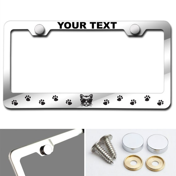 Cat face and paw print Customized Laser Engraved Stainless Steel License Plate Frame w/ Screw Caps (Arial Black font)