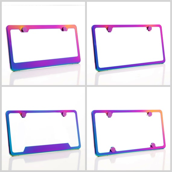 Electroplating Neon Chrome Rainbow Stainless Steel License Plate Frame w/ Purple Screw Caps + Hardware
