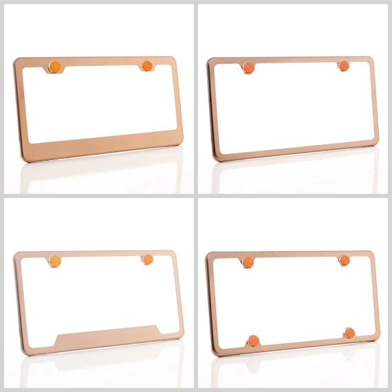 Electroplating Rose Gold Glossy Stainless Steel License Plate Frame w/ Rose Gold Screw Caps + Hardware
