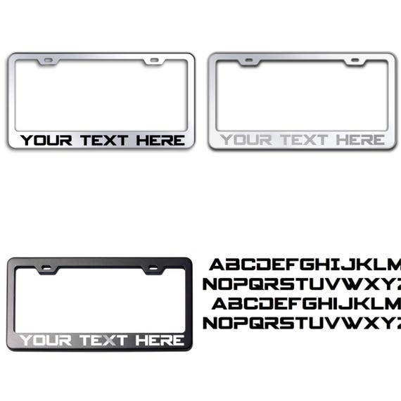 Custom PERSONALIZE (Spyagency Font) Laser Engraved Text on 100% Stainless Steel License Plate Frame Holder