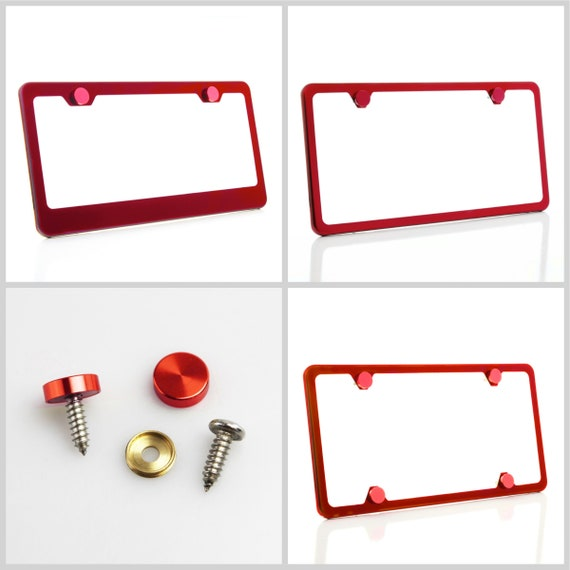 Powder Coated Red Stainless Steel License Plate Frame w/ Red Screw Caps + Hardware