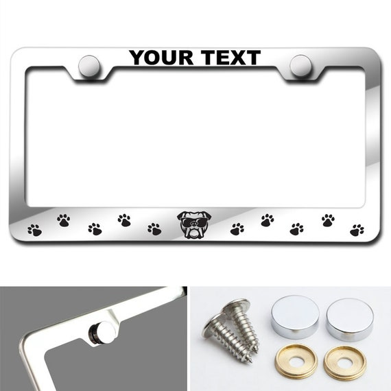 Dog face and paw print Customized Laser Engraved Stainless Steel License Plate Frame w/ Screw Caps (Arial Black font)