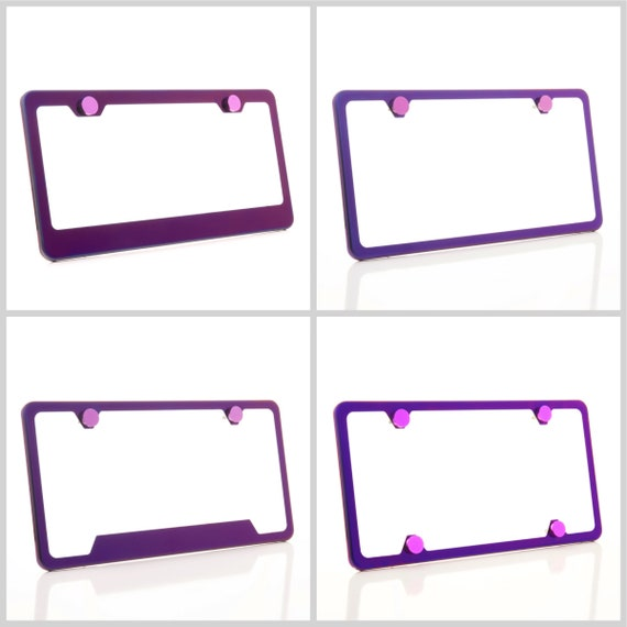 Electroplating Purple Glossy Stainless Steel License Plate Frame w/ Purple Screw Caps + Hardware