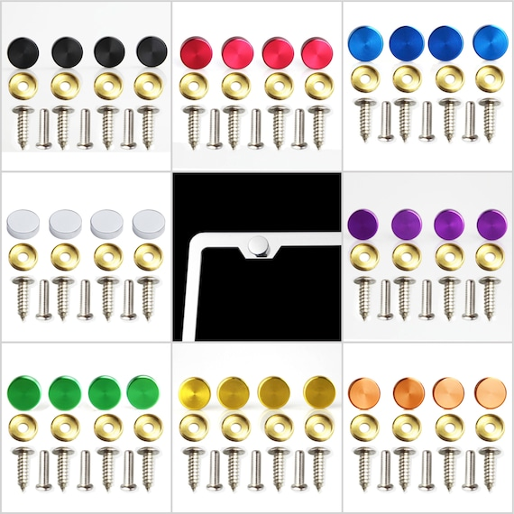 Set of 4 Aluminum Screw Caps for License Plate Frame - Hardware Included - 8 Color Available