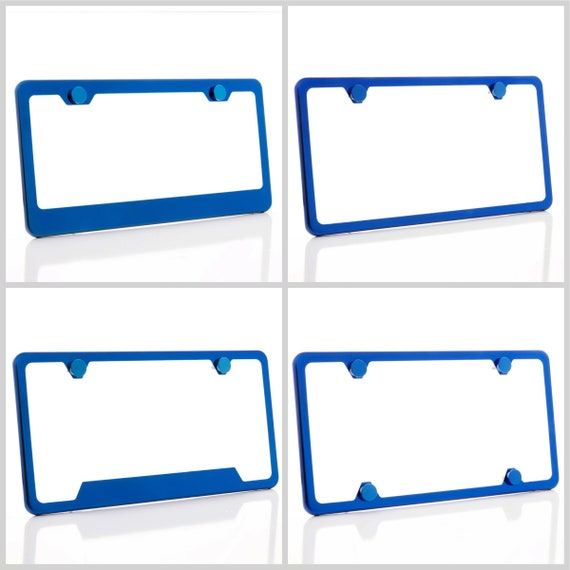 Electroplating Blue Glossy Stainless Steel License Plate Frame w/ Blue Screw Caps + Hardware