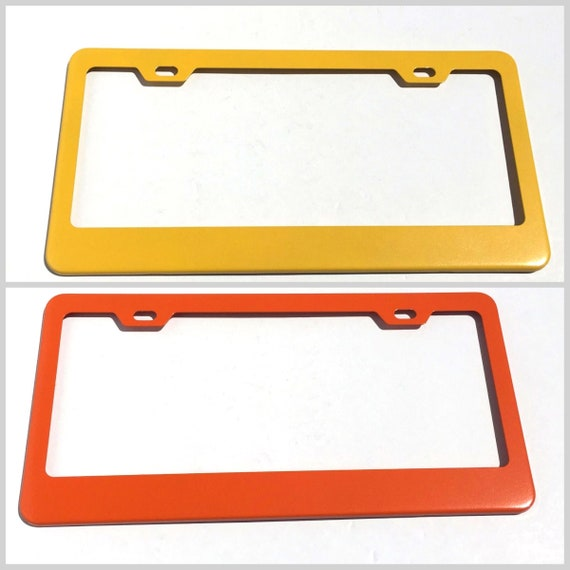 Powder Coat ORANGE or Yellow Stainless Steel License Plate Frame