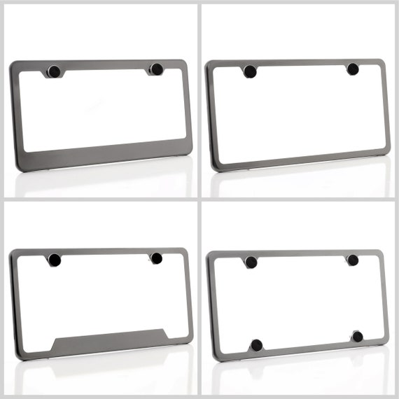 Electroplating Gun Metal Glossy Stainless Steel License Plate Frame w/ Black Screw Cap + Hardware