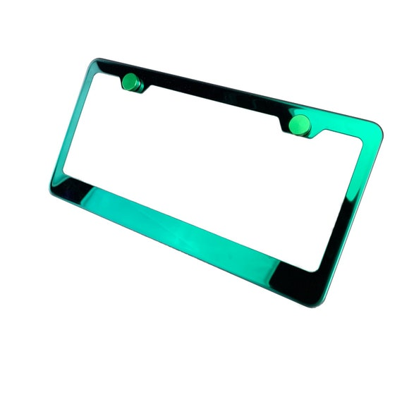 Electroplating Green Glossy Stainless Steel License Plate Frame w/ Green Screw Caps + Hardware
