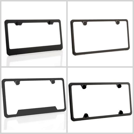 Powder Coated Matt Black Stainless Steel License Plate Frame w/ Black Screw Caps + Hardware