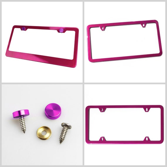 Powder Coated Hot Pink Stainless Steel License Plate Frame w/ Purple Screw Caps + Hardware
