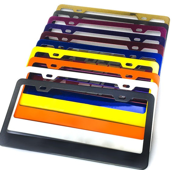 Color Powder Coated Stainless Steel License Plate Frame Car Vehicle Fits All Car & Model No Rusty Hand Coated