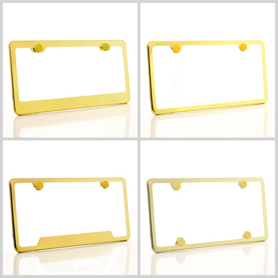 Electroplating Gold Glossy Stainless Steel License Plate Frame w/ Gold Screw Caps + Hardware