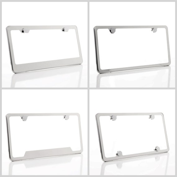 Mirror Finished Stainless Steel License Plate Frame w/ Chrome Screw Caps + Hardware