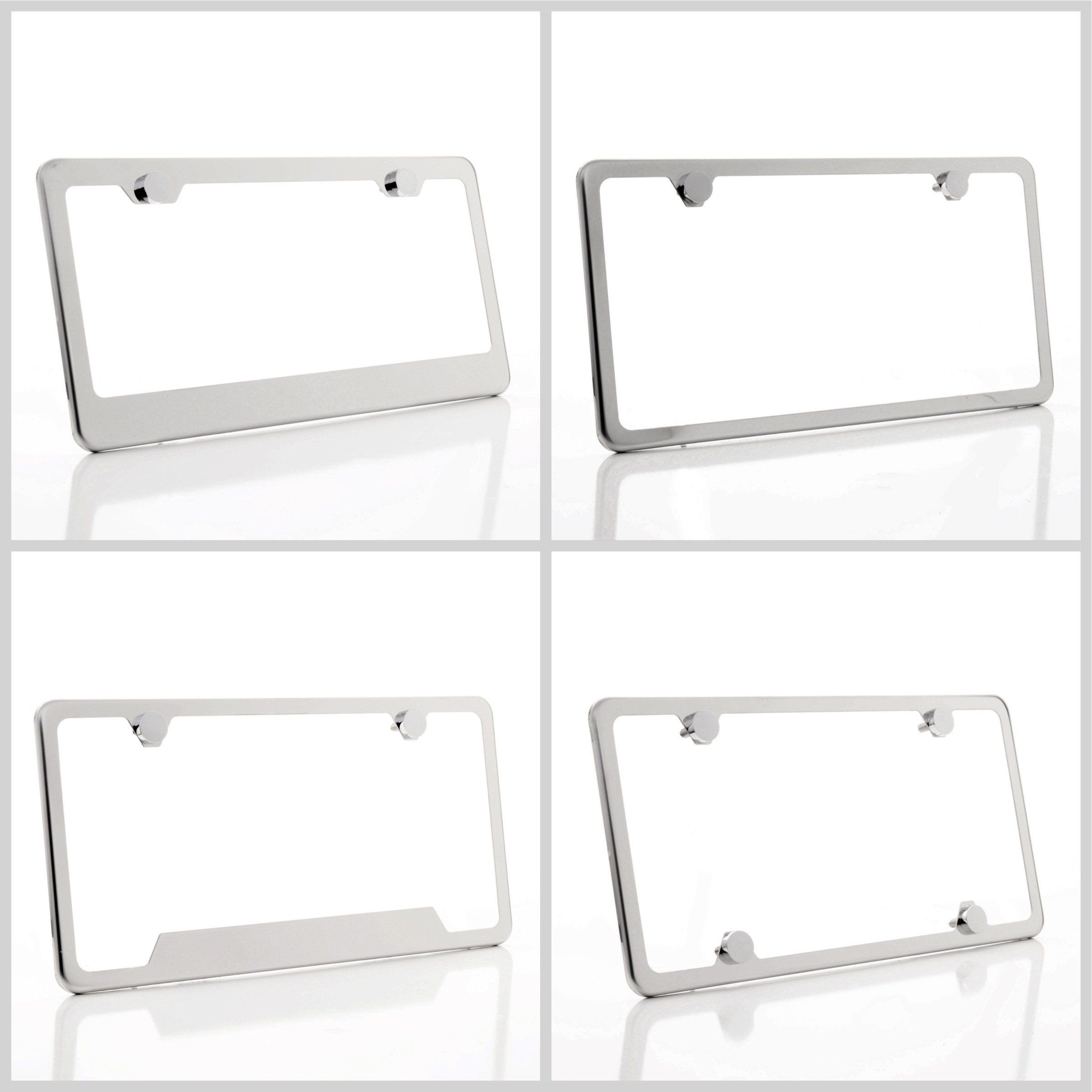 Mirror Chrome License Plate Frame SLK350 Laser Engraved Metal Screw Cap