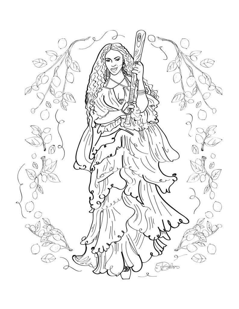 Beyonce Lemonade Adult Coloring Sheet Printable Art