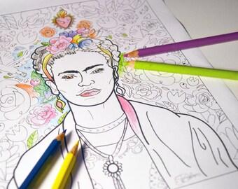Frida Kahlo Art Print / adult coloring sheet / instant download printable print