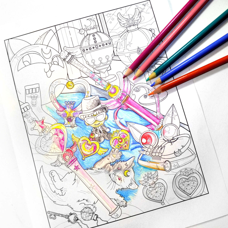 Sailor Chibi Moon fan art coloring sheet / Sailor Moon printable art print  instant download pdf
