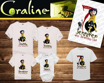 c3bf5c751 Coraline Personalized Birthday Shirt - Tshirt - Onesie - Mom - Dad - Sister  - Brother - Any Name - Add Tutu/Headband- Choose Your Colors