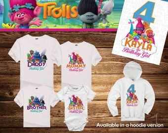 6a326f2f Trolls Poppy Personalized Birthday Shirt - Tshirt - Onesie - Mom - Dad -  Sister - Brother - Any Name - Add Tutu/Headband-Choose Your Colors