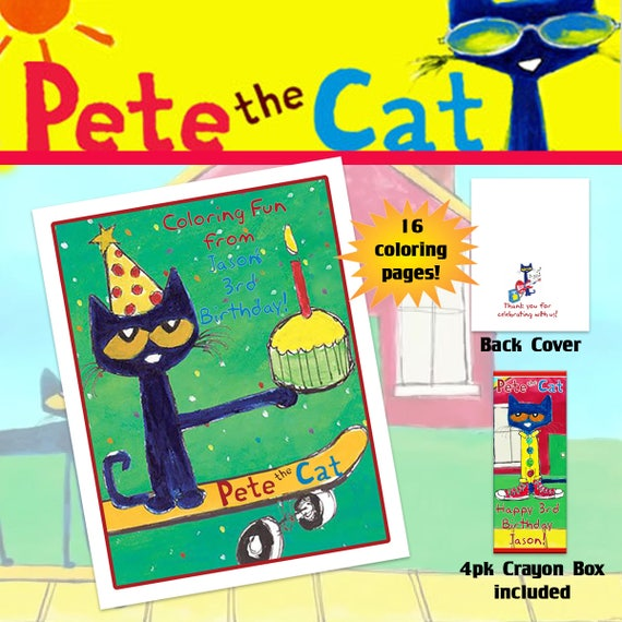 Pete The Cat Coloring Book With Crayons Birthday Party Etsy