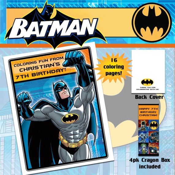 Batman Coloring Book with Crayons | Etsy