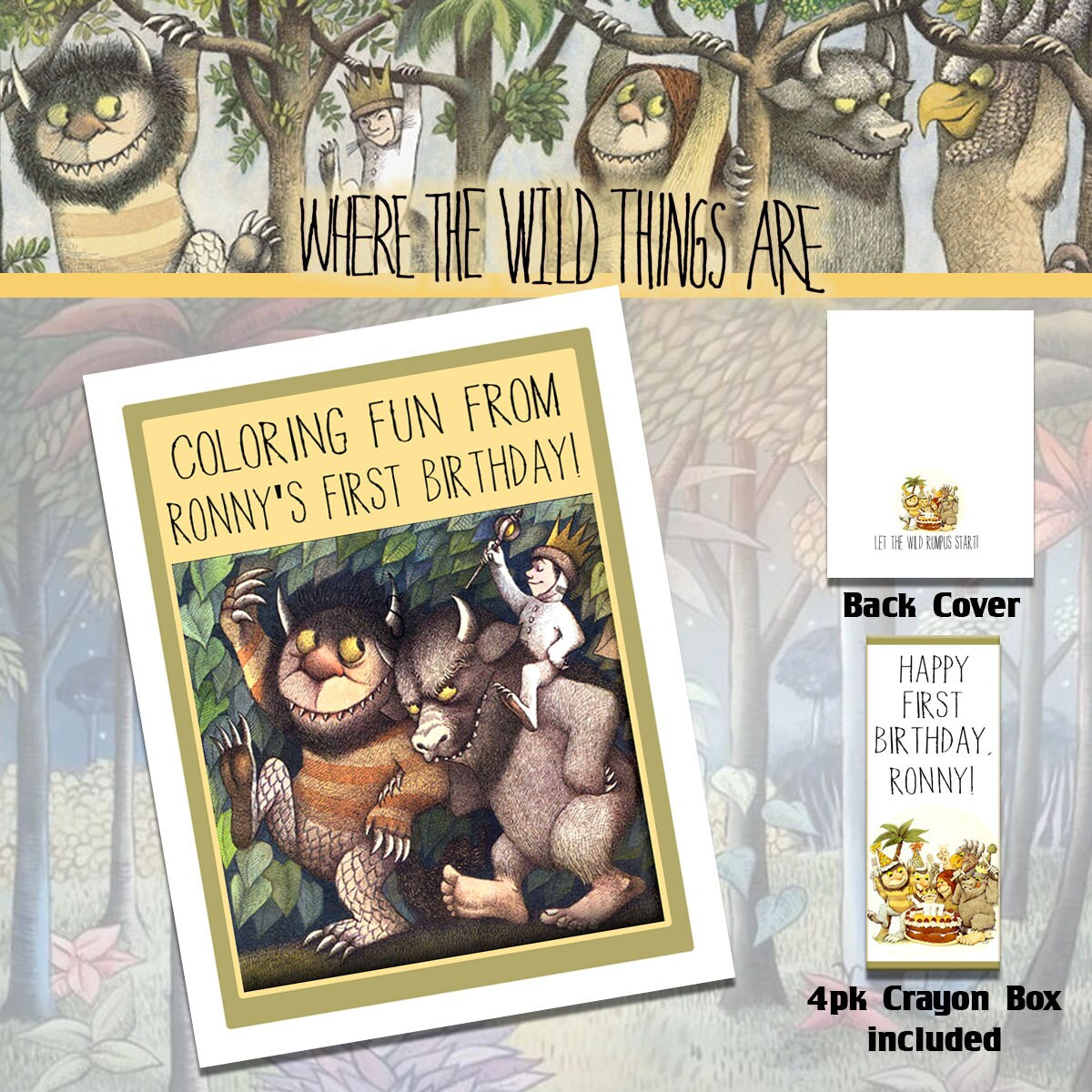 Where the Wild Things Are Coloring Book & Crayons/Birthday | Etsy