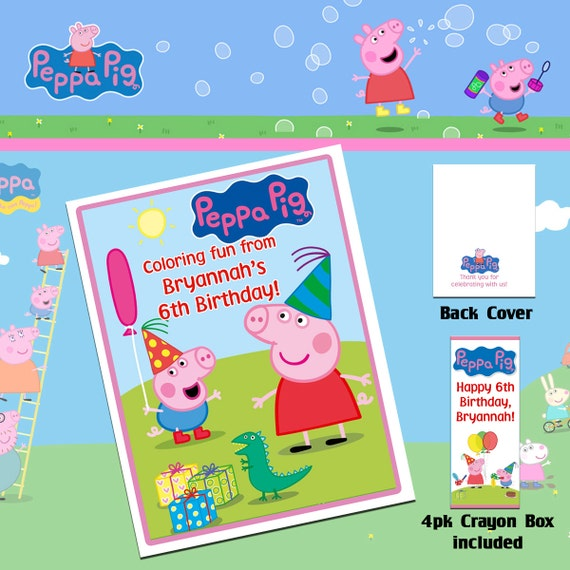 Peppa Pig Coloring Book With Crayons/Birthday Party Etsy