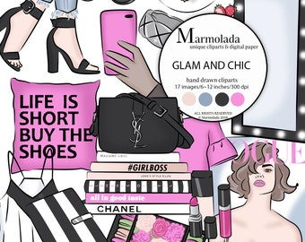 b78e37709 Fashion clipart Glam clipart Fashion Girl Planner clipart Hands with phone  Shoes Handbag Books Ring Pink Black Strawberry Blouse Macaroon
